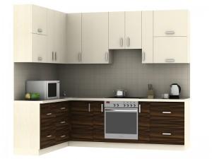 Кухня угловая(маракас) с комбинироавными фасадами - фото №1